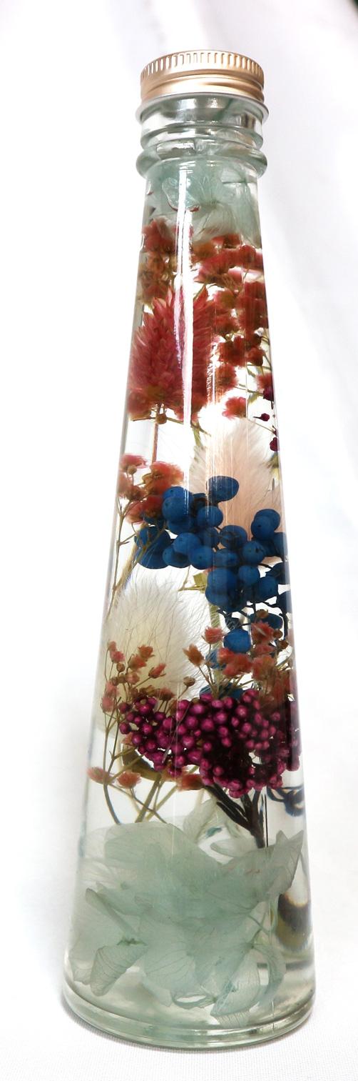 ハーバリウム ブルー&ピンクアレンジ・LサイズNO.5/ブルー&ピンクソーダで知性と愛情運UP!!(H22cm×底面直径6cm/重さ約450g)1本【大人気の退色せず、さかさまにしても中が崩れない本物ハーバリウムbyイーグルサム】1本から送料無料キャンペーン中!(^^)!