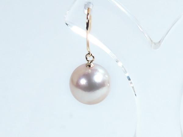 ホワイト系あこや真珠ピアスパールピアス<9.5mm>アメリカン・K18アコヤ真珠 PE-6587