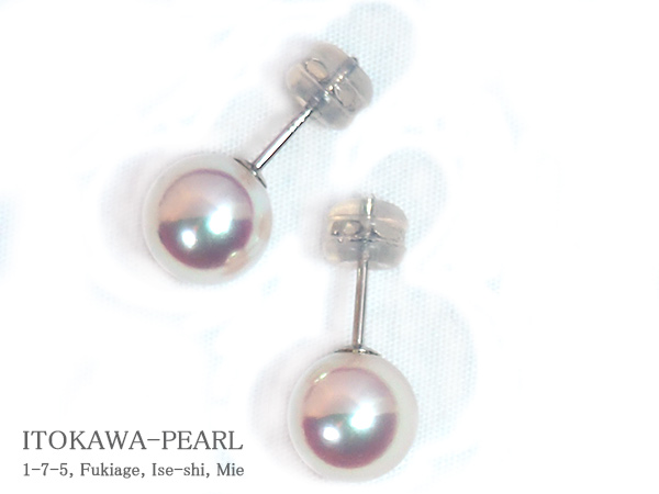 無調色 あこや真珠ピアス<8.3mm>スタッド・PT900 PE-7109