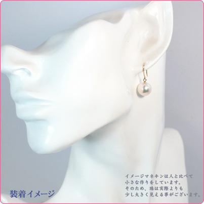 ホワイト系あこや真珠ピアスパールピアス<9mm>アメリカン・K18アコヤ真珠 PE-6583