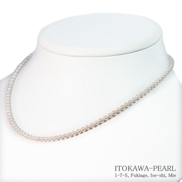 あこや真珠ベビーパールネックレス<3〜3.5mm>アジャスター・K14WG N-12189