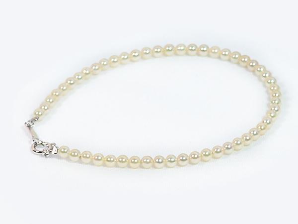 無調色 あこや真珠ブレスレット<2.5〜3mm>引き輪とプレートタイプ/K18WG(17cm)V-1662