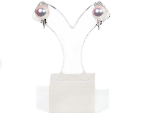 花珠真珠 あこや真珠イヤリング<7.7mm>ネジバネ式・K14WG 鑑別書付 E-4791
