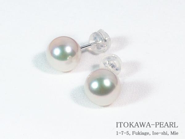 花珠真珠あこや真珠ピアス<8.7mm>スタッド・K14WG鑑別書付 PE-7062