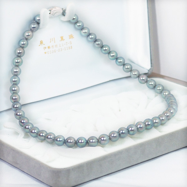 グレー系あこや真珠パールネックレス<7.5〜8mm>N-11930