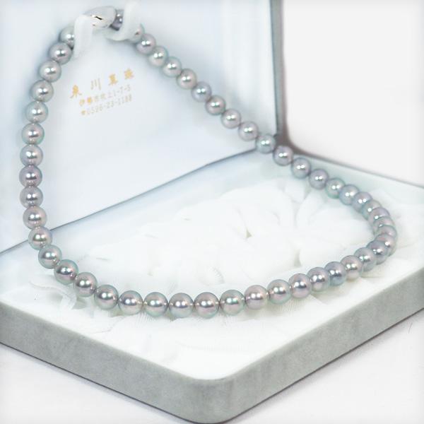 グレー系無調色あこや真珠パールネックレス<8〜8.5mm>アコヤ真珠 N-11656