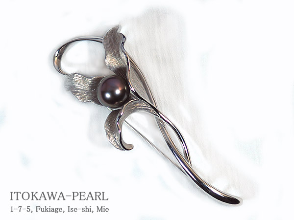 タヒチ真珠ブローチ<10mm>・シルバー B-1443