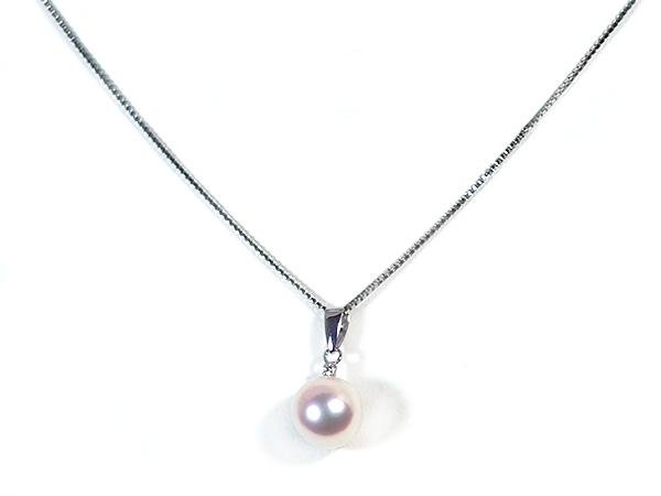あこや真珠ペンダントトップ<8.3mm>K14WG・ダイヤモンド 0.01ct P-8265