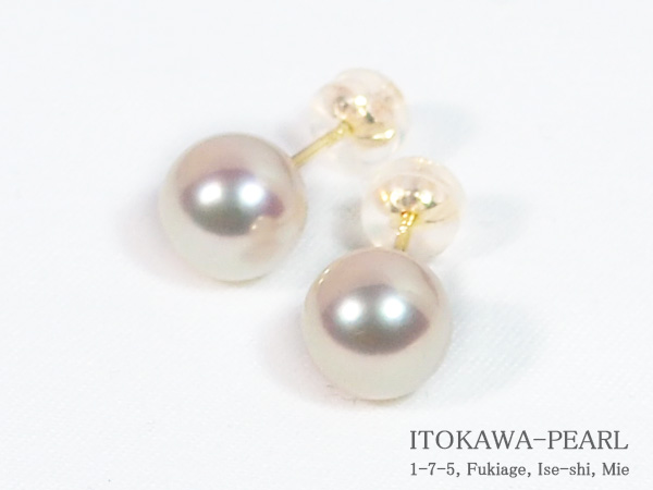 あこや真珠ピアス<8mm>スタッド・K18YG PE-7193