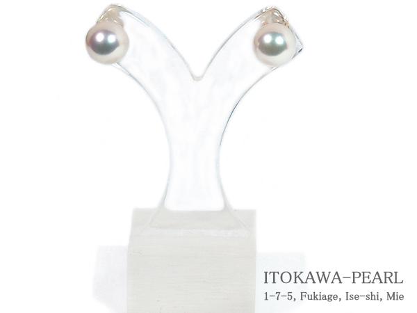 あこや真珠ピアス<8.3mm>スタッド・K18YG PE-7194
