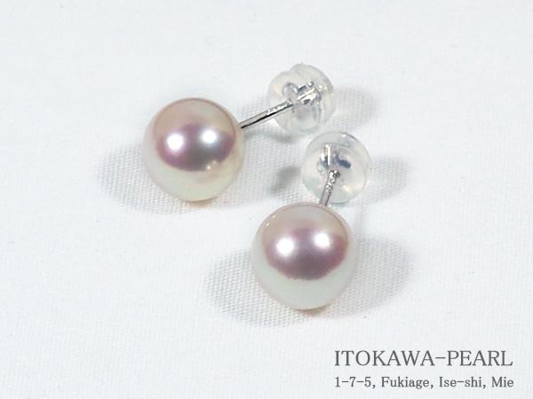 花珠真珠あこや真珠ピアス<8.3mm>スタッド・K14WG鑑別書付 PE-6968