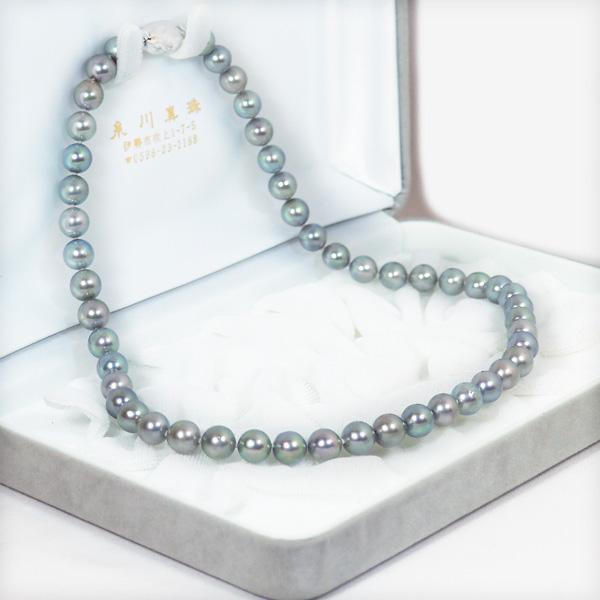 グレー系あこや真珠パールネックレス<7.5〜8mm>アコヤ真珠 N-11663