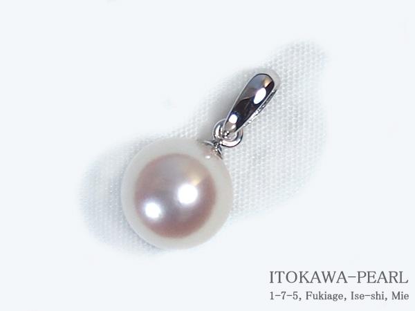 あこや真珠ペンダントトップ<8.0mm>K14WG P-8213