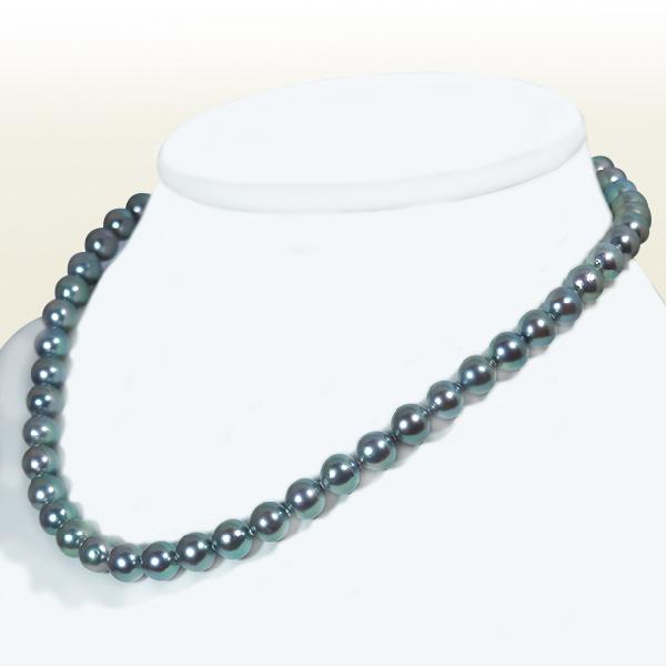 グレー系 あこや真珠パールネックレス<7.5〜8mm>アコヤ真珠 N-11665