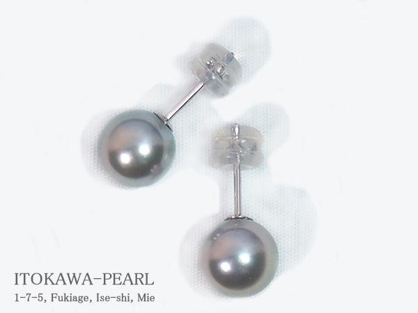 グレー系 あこや真珠ピアス<8mm>スタッド・K14WG PE-7103