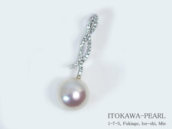 南洋真珠ペンダント トップパールペンダント トップ<11.6mm>K14WG・ダイヤモンド 0.24ct南洋白蝶真珠 P-7317