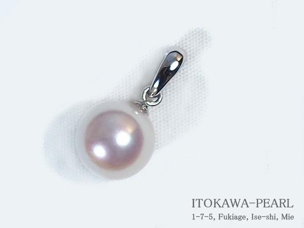 あこや真珠ペンダントトップ<8.1mm>K14WG P-8215