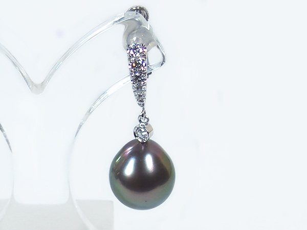 ブラック系タヒチ真珠イヤリングパールイヤリング<11mm>ネジバネ式・K14WG・ダイヤモンド 022ct×2タヒチ真珠 E-4017