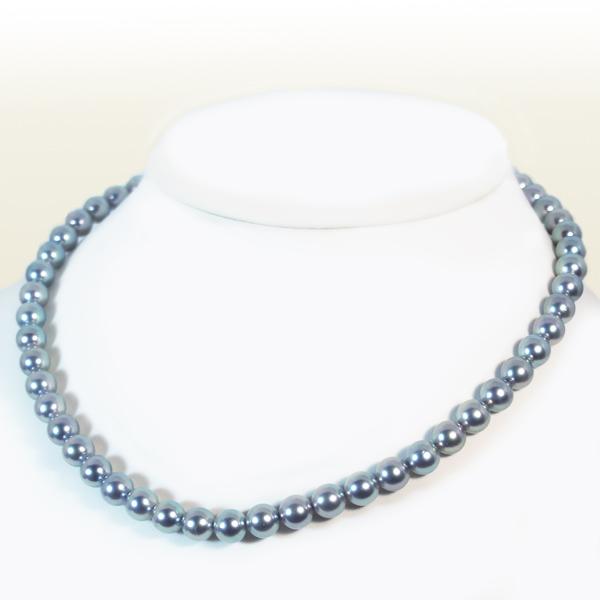 グレー系あこや真珠ネックレスパールネックレス<7.5〜8mm>アコヤ真珠 N-10989