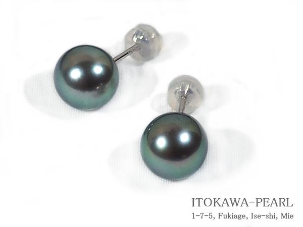 グリーン系 タヒチ真珠ピアス<9.7mm>スタッド・K14WG PE-6970