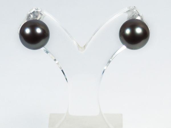 ブラック系タヒチ真珠ピアス<9.5mm>スタッド・K14WG PE-6863