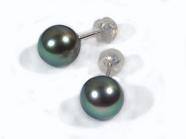 グリーン系 タヒチ真珠ピアス<9.2mm>スタッド・K14WG PE-6972