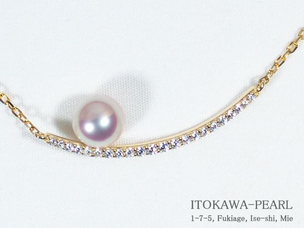 あこや真珠ペンダントネックレス<7.3mm>シルバーアズキチェーンP-8285