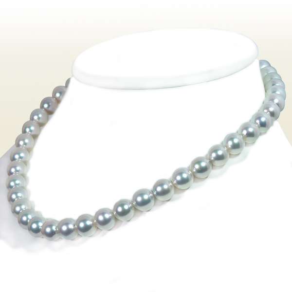 真多麻真珠 グレー系あこや真珠ネックレス<9.5〜10mm>鑑別書付 N-11940