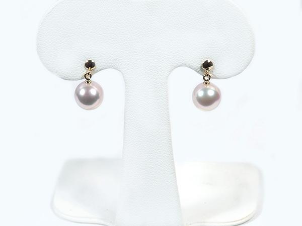 花珠真珠あこや真珠ぶら下がりタイプピアス<8.4mm>スタッド・K18YG 鑑別書付 PE-6965