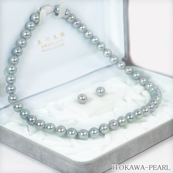 グレー系2点セットあこや真珠ネックレス<8.5mm> NE-1960