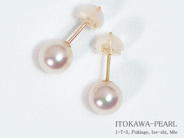 あこや真珠ピアス<6.2mm>スタッド・K18YG PE-7246