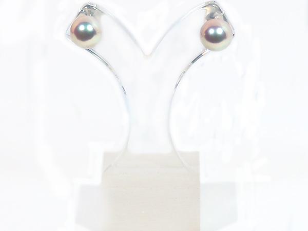 無調色・花珠真珠 あこや真珠ピアス<8.1mm>スタッド・PT900 鑑別書付 PE-7117