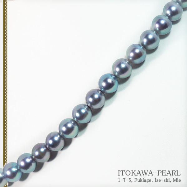 グレー系あこや真珠パールネックレス<7.5〜8mm>N-12061
