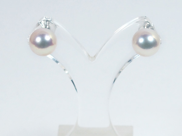 花珠真珠あこや真珠ピアス<8.7mm>スタッド・K14WG 鑑別書付 PE-6626