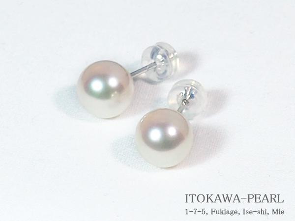 あこや真珠ピアス<8.3mm>スタッド・K14WG PE-7066