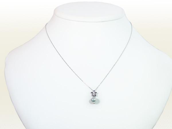 あこや真珠無調色 ペンダントネックレス<7.3mm>K18WG・ダイヤモンド0.03ctアズキチェーン付P-8331