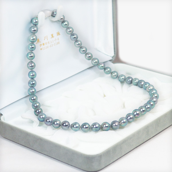 グレー系あこや真珠パールネックレス<7.5〜8mm>N-11669