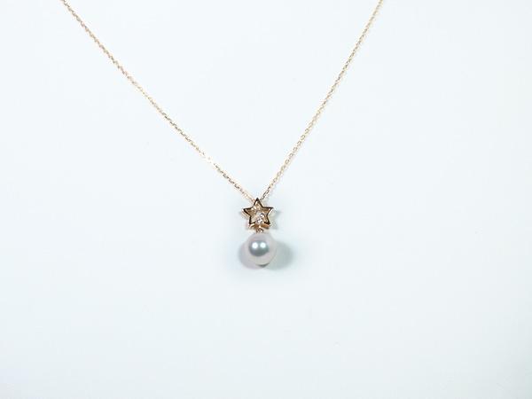 あこや真珠ペンダントネックレス<7.3mm>K18YG・ダイヤモンド0.03ctアズキチェーン付P-8329