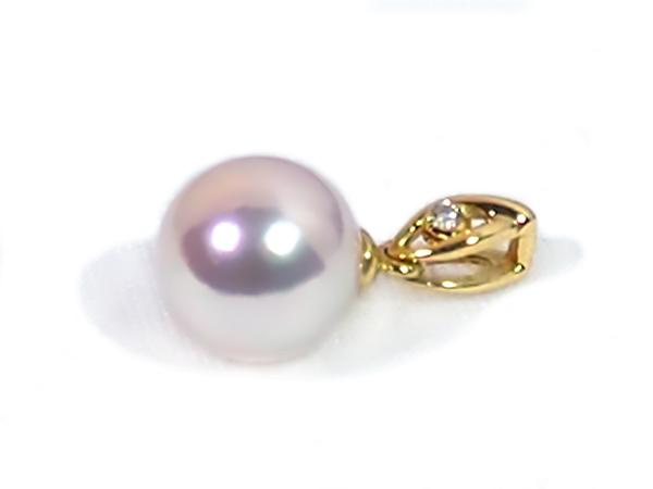 あこや真珠 ペンダントトップ<8mm> K18YG・ダイヤモンド0.01ct P-8333