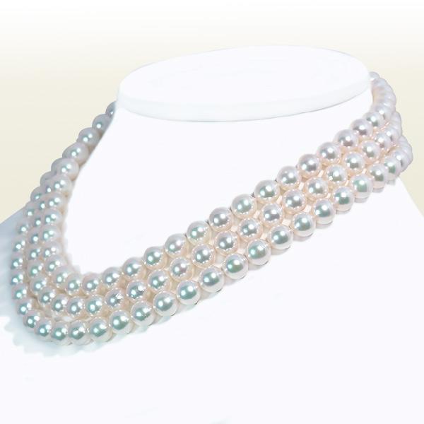 ロングネックレス (129.5cm)あこや真珠ネックレス<8〜8.5mm> N-11726