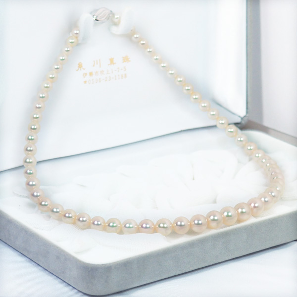 花珠真珠範疇あこや真珠グラデーションネックレス<5〜9mm>鑑別書付 N-12070