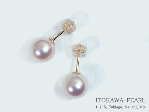 あこや真珠ピアス<8.5mm>スタッド・K18YG PE-6623