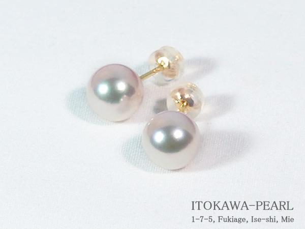 あこや真珠ピアス<8.6mm>スタッド・K18YG PE-7043