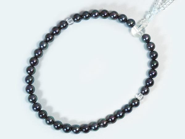 グレー系あこや真珠念珠(数珠)<6.5〜7mm>人絹(白)J-454