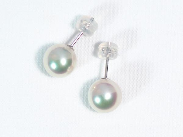 あこや真珠ピアス<8.8mm>スタッド・K14WG PE-7044
