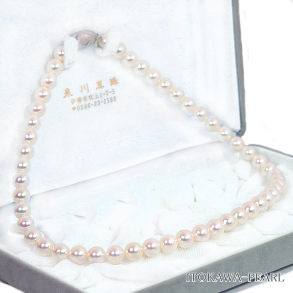 無調色 花珠真珠あこや真珠ネックレス<8〜8.5mm>鑑別書付 N-11858