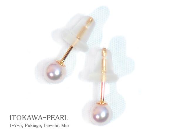 あこや真珠ピアス<3.9mm>スタッド・K18YG PE-7098