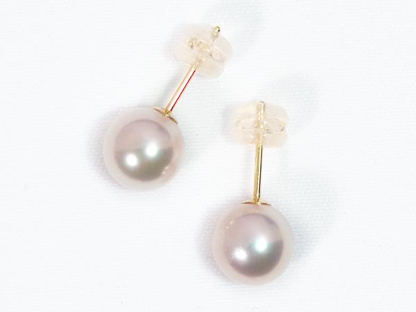 花珠真珠あこや真珠ピアス<8mm>スタッドK18YG PE-7205