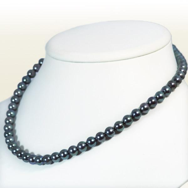 グレー系あこや真珠ネックレス<6.5〜7mm> N-11431