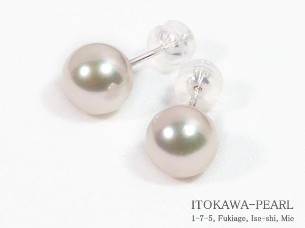 花珠真珠あこや真珠ピアス<8.2mm>スタッドK14WG PE-7206